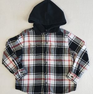 Boys Flannel Hoodie Button Up Long Sleeve Shirt XS